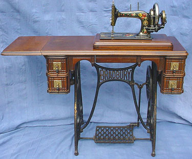 When Used As A Treadle The Machine Is Placed On Top Of The Table Where It  Is Held In Place By Its Feet Which Fit Into Four Shallow Holes.